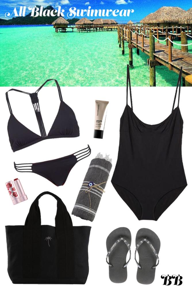 all black swimwear