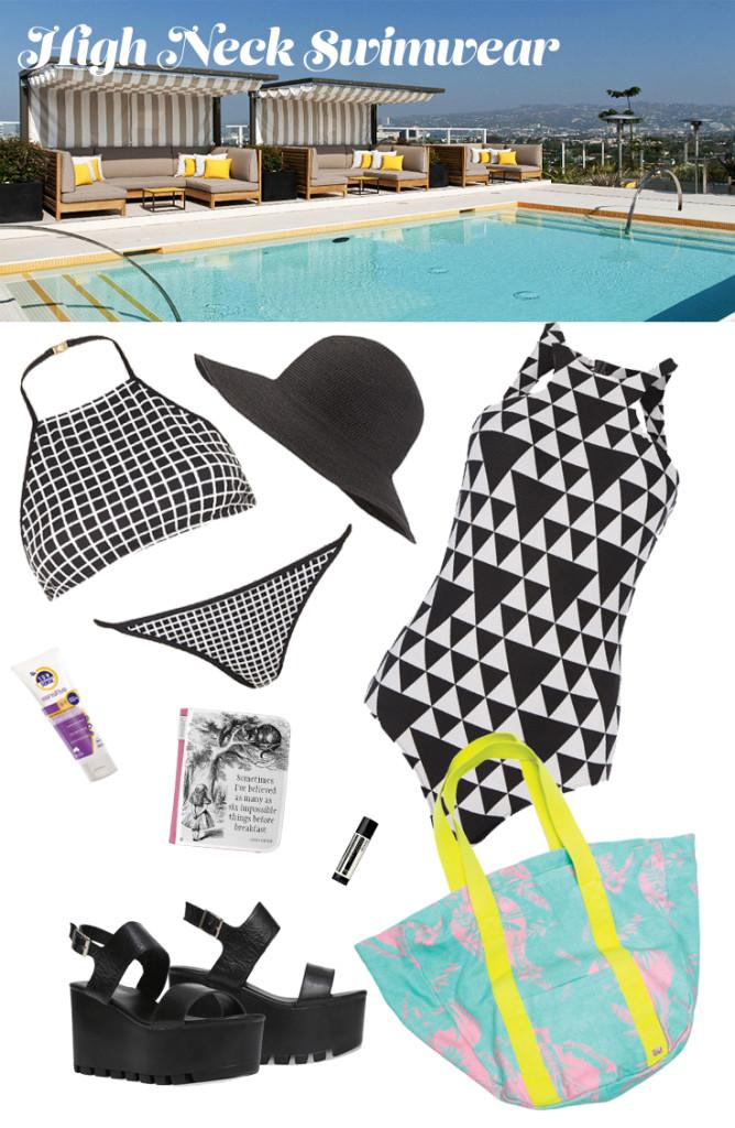 high neck swimwear
