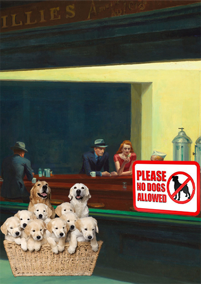 dog family outside a diner window with no dogs allowed sign